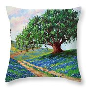 Bluebonnet Road Throw Pillow