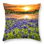 Bluebonnet Sunset  Throw Pillow