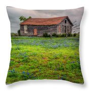 Bluebonnets And Abandoned Farm House Throw Pillow