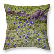 Bluebonnets And Fallen Tree - Texas Hill Country Throw Pillow