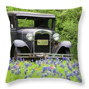 Bluebonnets And Fords Throw Pillow