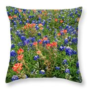 Bluebonnets And Paintbrushes 3 - Texas Throw Pillow
