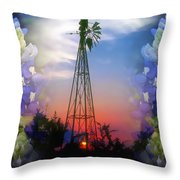 Bluebonnets And Windmill Throw Pillow