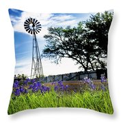 Bluebonnets With Windmill Throw Pillow
