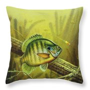 Bluegill And Jig Throw Pillow