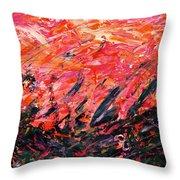Bluegrass Sunrise - Crimson B-right Throw Pillow