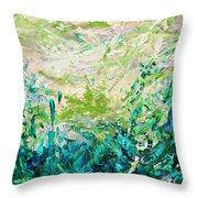 Bluegrass Sunrise - Jade A-left Throw Pillow