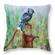 Bluejay Peaceful Perch Throw Pillow