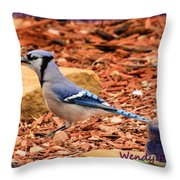 Bluejay Profile Throw Pillow