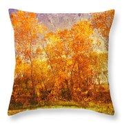 Gold Trees Throw Pillow