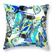 Blues Fishes Throw Pillow