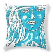 Blues Girl Throw Pillow
