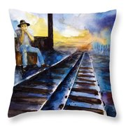Blues On The Other Side Throw Pillow