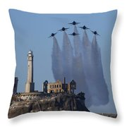 Blues Over Alcatraz Throw Pillow