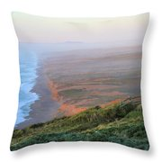 Bluffs And South Beach Point Reyes Throw Pillow