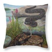 Bluffside Timber Rattler  Throw Pillow