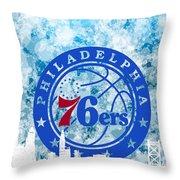 bluish backgroud for Philadelphia basket Throw Pillow