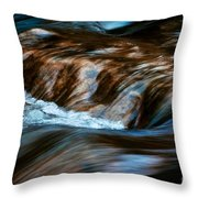 Blurred Cascades On The Autumn River Throw Pillow