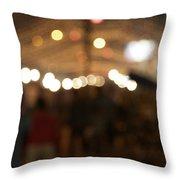 Blurred Delhi Street Scene At Night Throw Pillow
