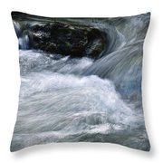 Blurred Detail Of A Mountain Stream Throw Pillow