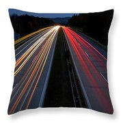 Blurred Lights Lines On Highway Throw Pillow