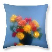 Blurred Roses In The Blue Throw Pillow