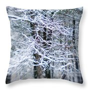 Blurred Shot Of Snow-covered Trees Throw Pillow