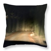 Blurry Tuscan Road Seen Throw Pillow