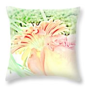 Blush Gerber And Rose Throw Pillow