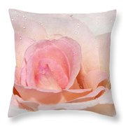 Blush Pink Dewy Rose Throw Pillow