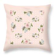 Blush Pink Floral Rose Cluster W Dot Bedding Home Decor Art Throw Pillow