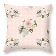 Blush Pink Floral Rose Cluster W Dot Bedding Home Decor Art Throw Pillow
