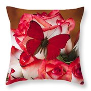 Blush Roses With Red Butterfly Throw Pillow
