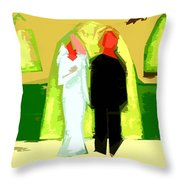 Blushing Bride And Groom 2 Throw Pillow