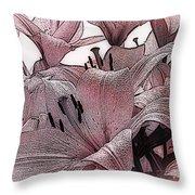Blushing Lilies Throw Pillow