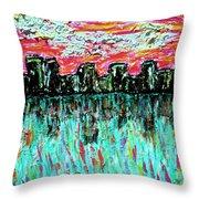 Blushing Metropolis Throw Pillow