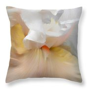 Blushing Peach Iris Flower Throw Pillow
