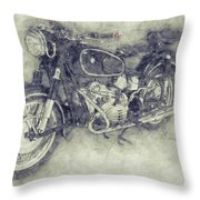 Bmw R60/2 - 1956 - Bmw Motorcycles 1 - Vintage Motorcycle Poster - Automotive Art Throw Pillow