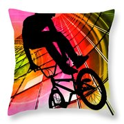 Bmx In Lines And Circles Throw Pillow