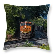 Bnsf Coming Around The Curve Throw Pillow