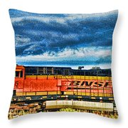 Bnsf Train Hdr Throw Pillow