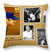 Bo Schembechler Legend Five Panel Throw Pillow