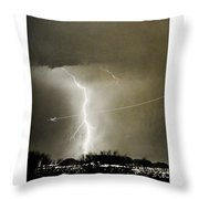 Bo Trek Lightning Bw Fine Art Poster Print Throw Pillow
