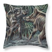 Boar Room Brawl Throw Pillow
