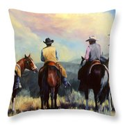 Board Meeting  Cowboy Painting Throw Pillow