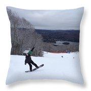 Board On Snow Throw Pillow