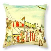 Boardwalk Artshow Virginia Beach Throw Pillow