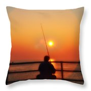 Boardwalk Fishing Throw Pillow