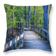 Boardwalk Going Into The Woods Throw Pillow