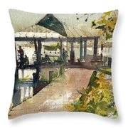 Boardwalk Sarasota Ink And Wash Throw Pillow